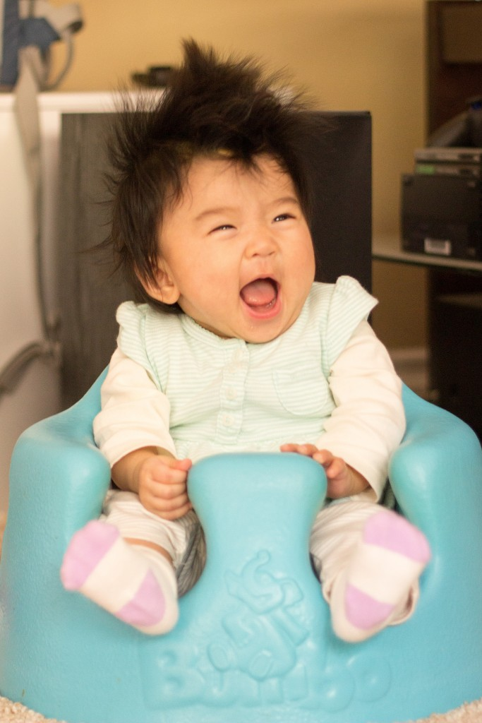 I love it when Mommy makes funny faces! Hahahaha it's so funny! My new bumbo chair is kinda fun too.