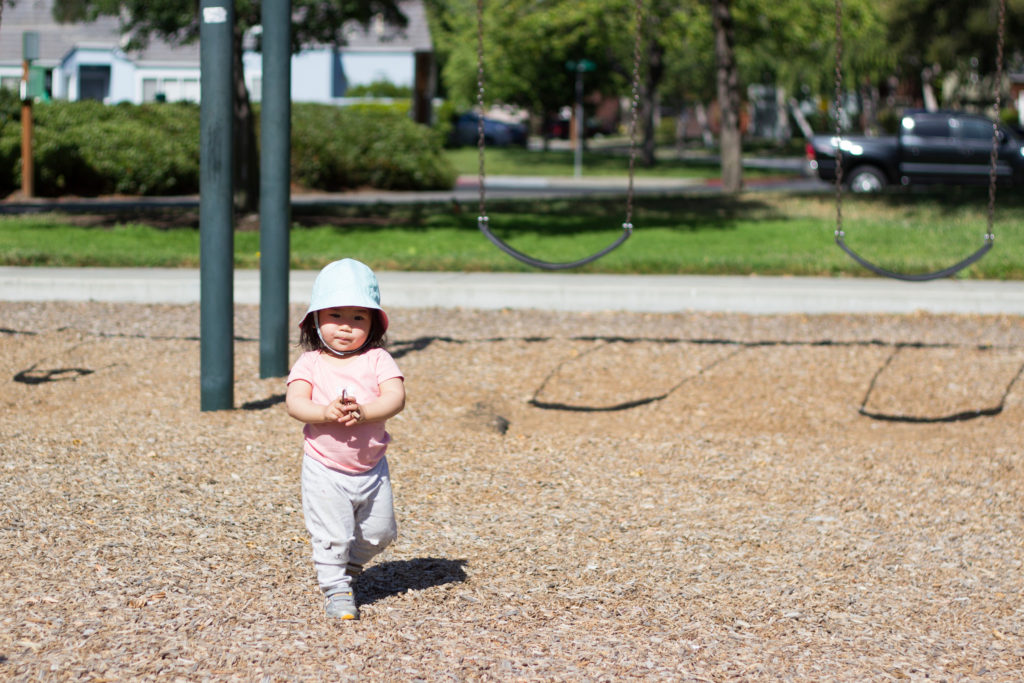 I love going to parks! I always prepare by sporting my hat and running away from Mama and Dada when they try to put sunscreen on me.