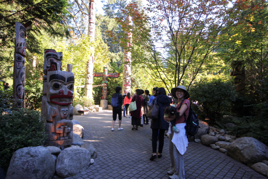 The entrance to Capilano Park has a whole bunch totem poles. Totem poles are super scary! I had to look down and make Mommy carry me until I was at least 1000 feet away.