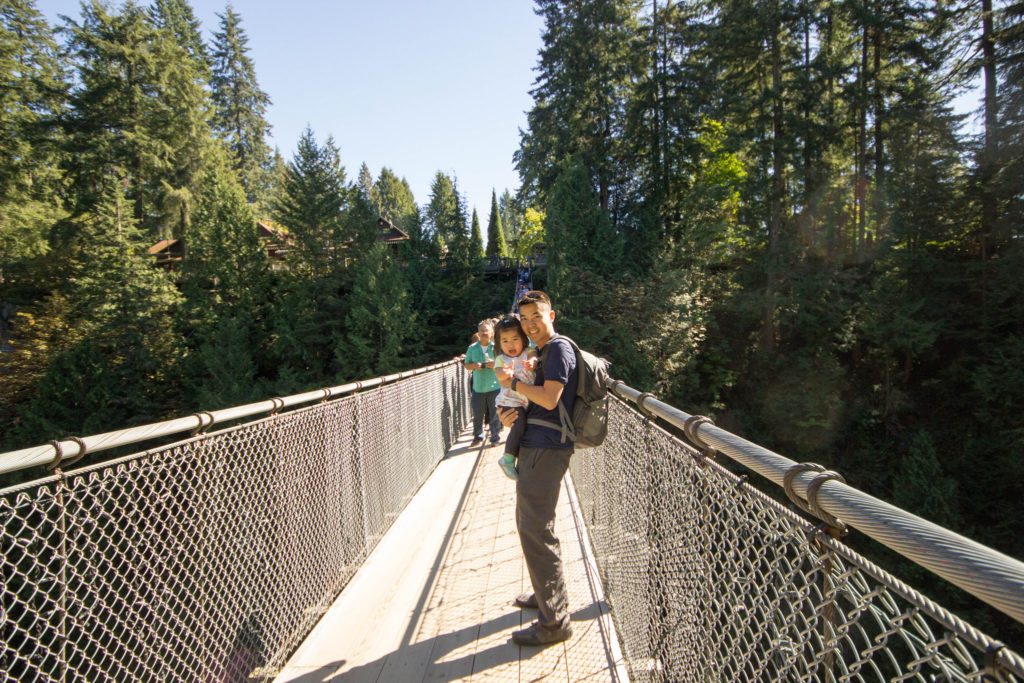 Daddy carried me back across the big suspension bridge because Mommy was tired of carrying me.