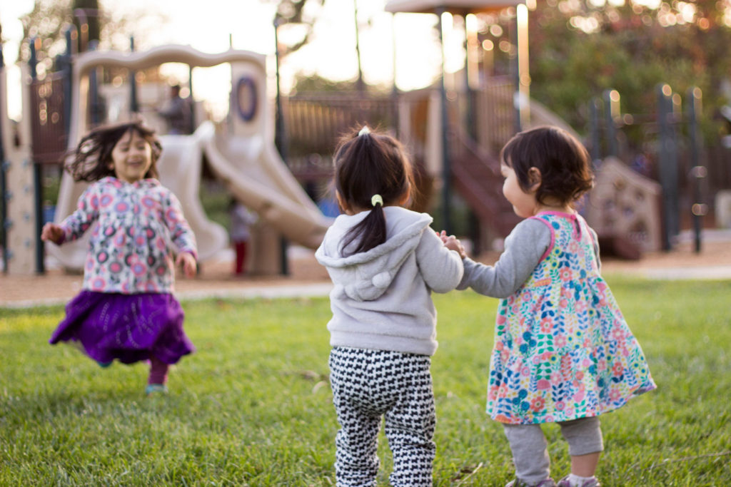 These are my cousins Ellie and Livi, and they came to my park! Livi runs so fast!