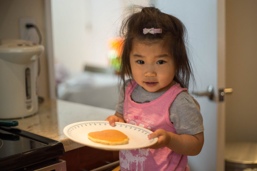Delicious pancakes are done! But Mommy and Nainai are both still sleeping, so Daddy and I ate!