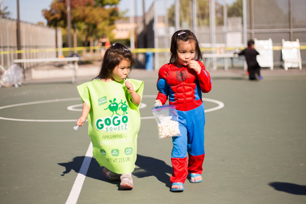 Just a Gogo Squeez pouch and Spiderman taking a stroll with lollipops