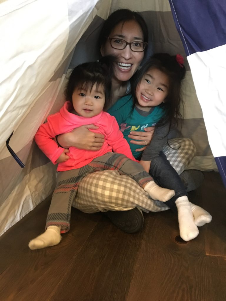 Mommy, Meimei and I all fit in my tent! Not Daddy though.
