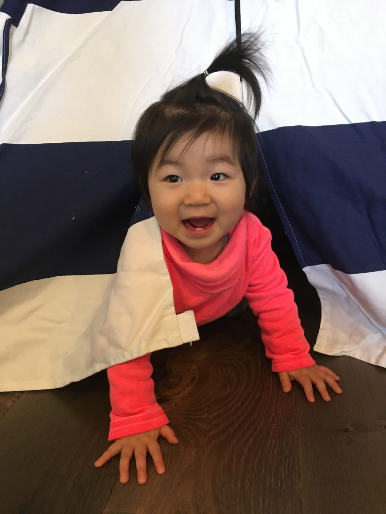 Meimei loves the tent too!